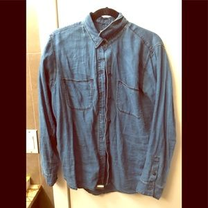 Madewell 100% linen denim color button front size